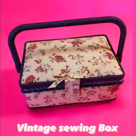 Vintage Sewing box, Floral & Blue wicker style